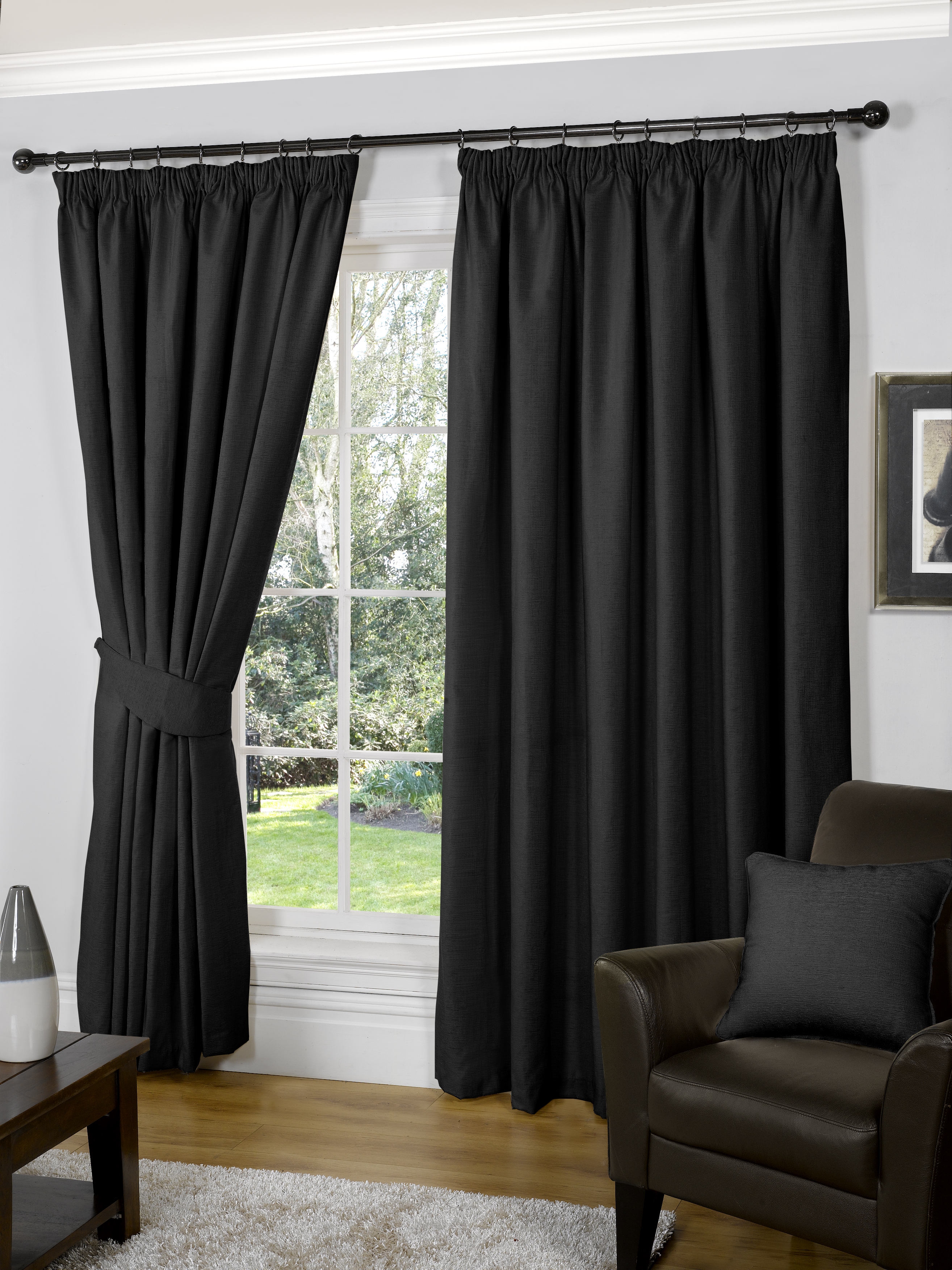 90 X 54 Black Fully Lined Ready Made Curtains Luxury Tape