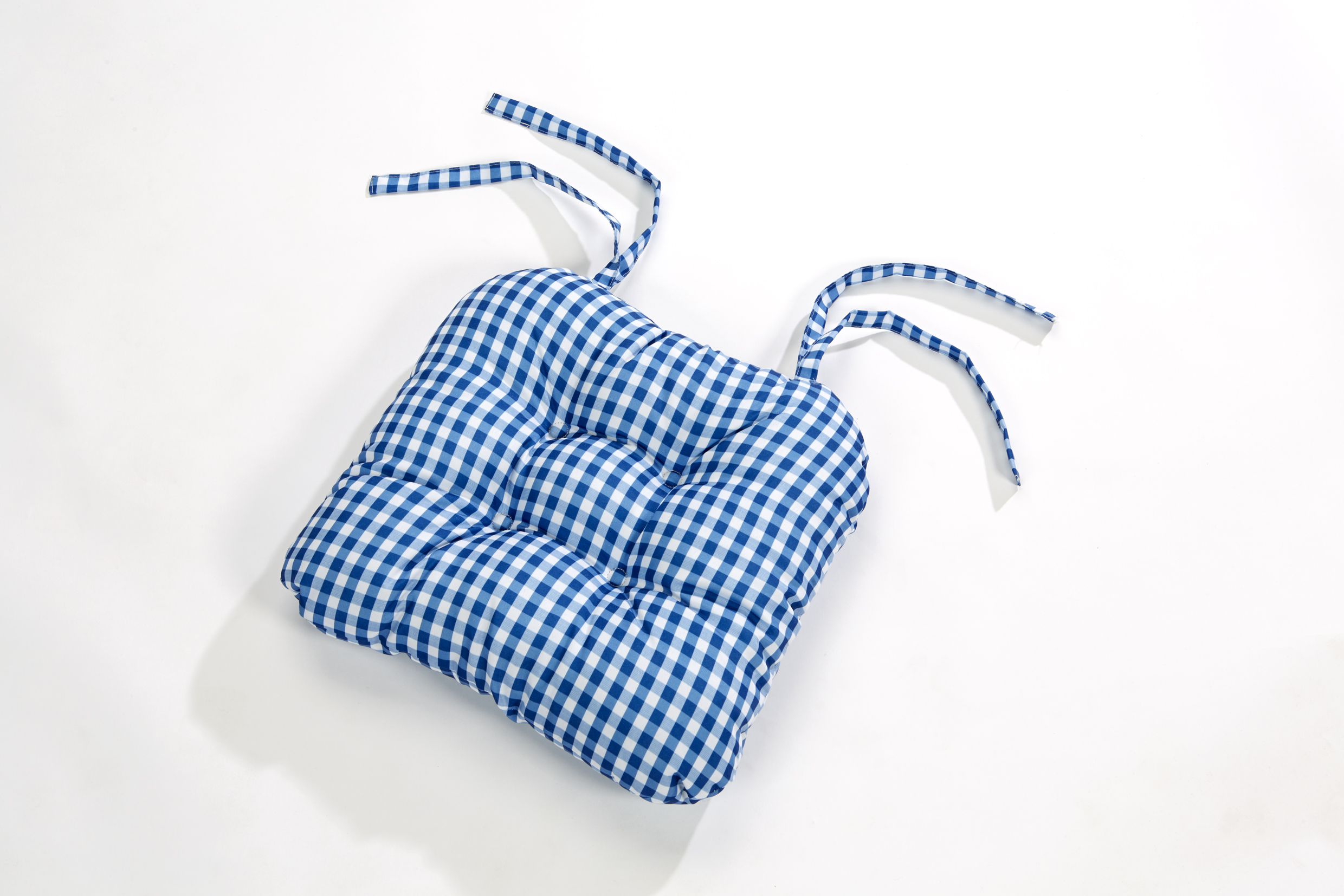 gingham check quilted style seat pad cushion chair tie on dining