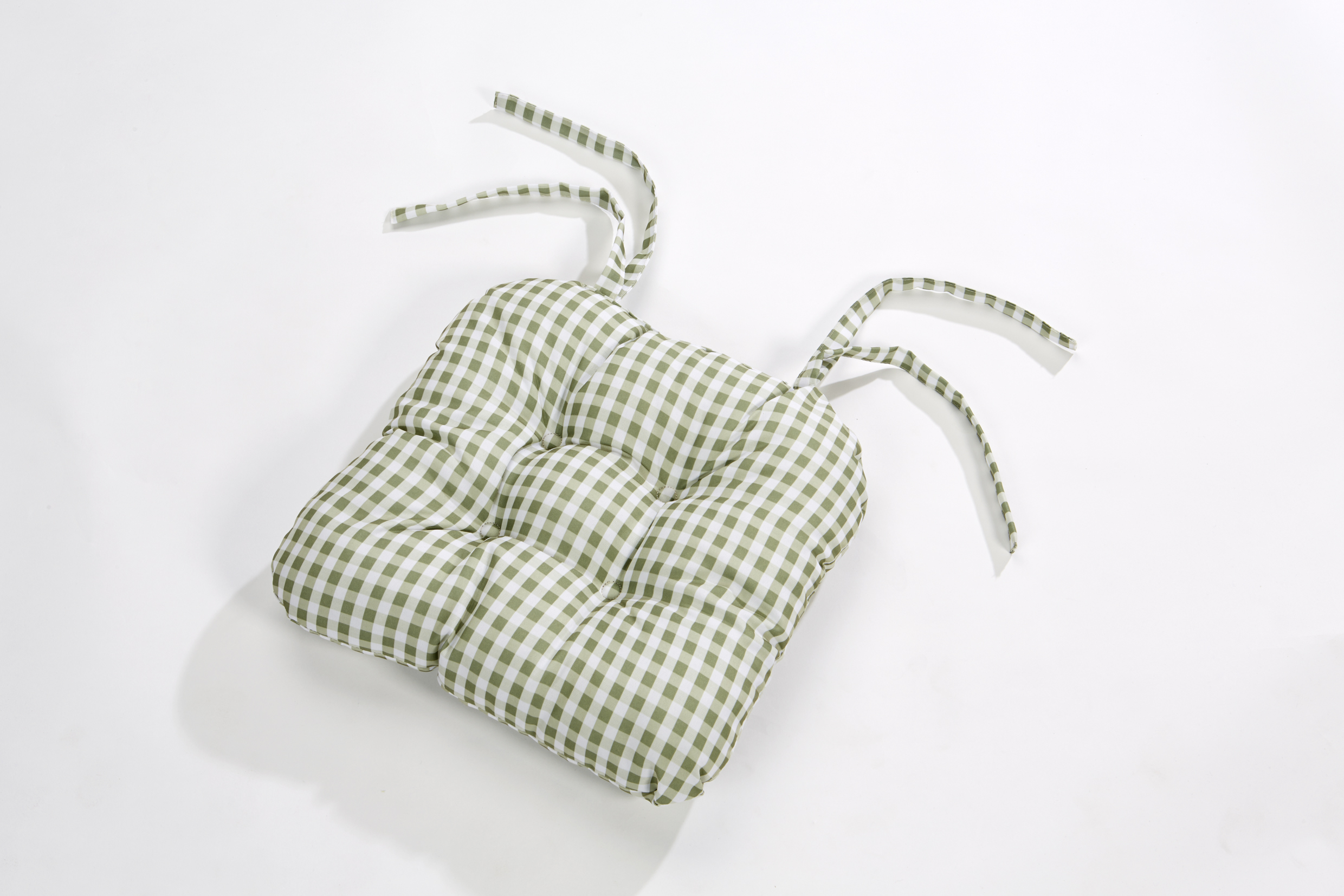 Gingham Check Quilted Style Seat Pad Cushion Chair Tie On Dining ...