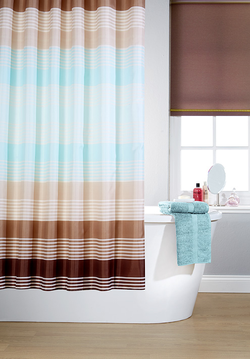 Striped Linear Brown Printed Shower Curtains Modern Bathroom Long With Rings