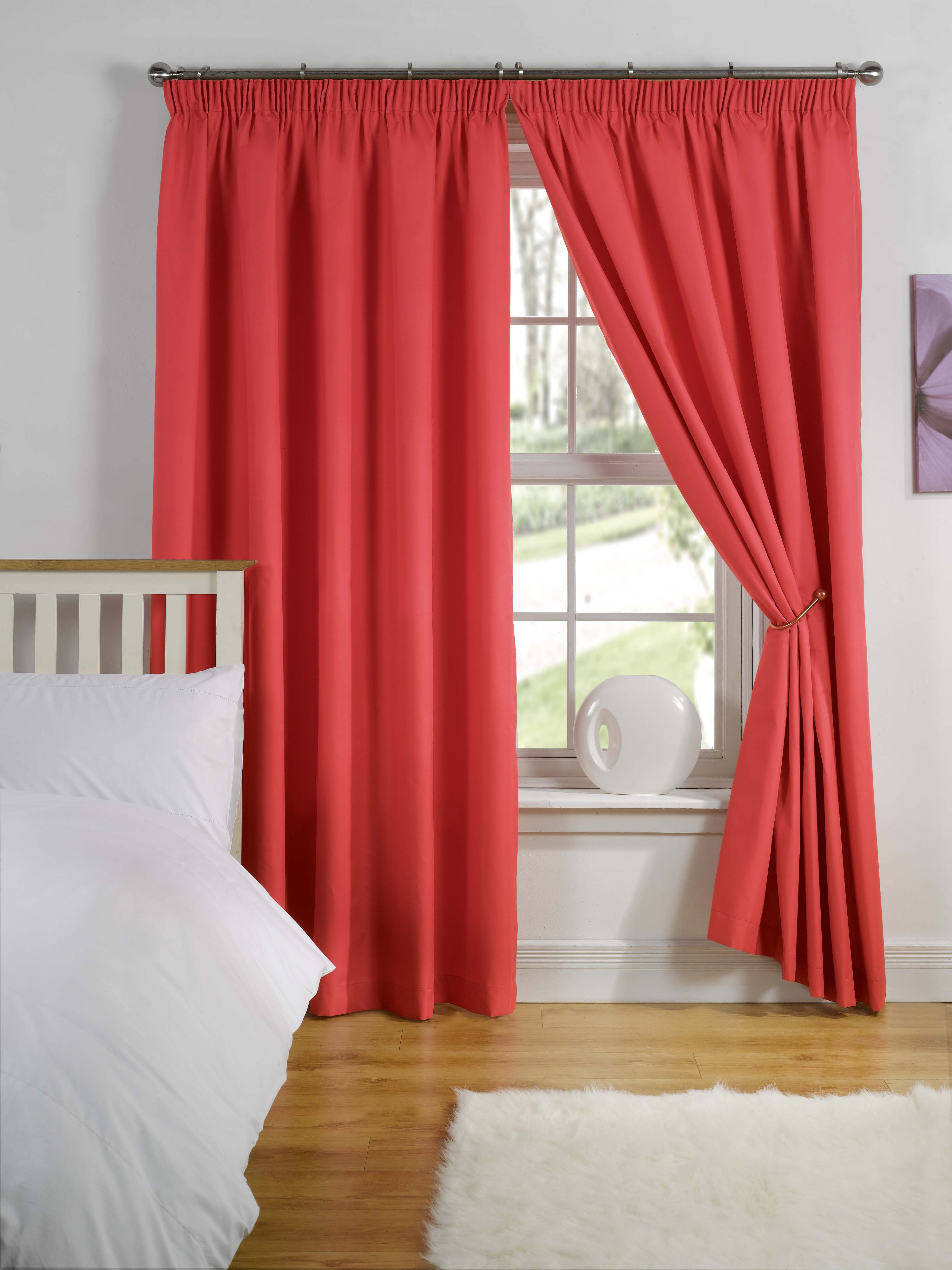 Thermal Backed Ready Made Curtains Lining Tape Top Range Of - Ready made curtains red
