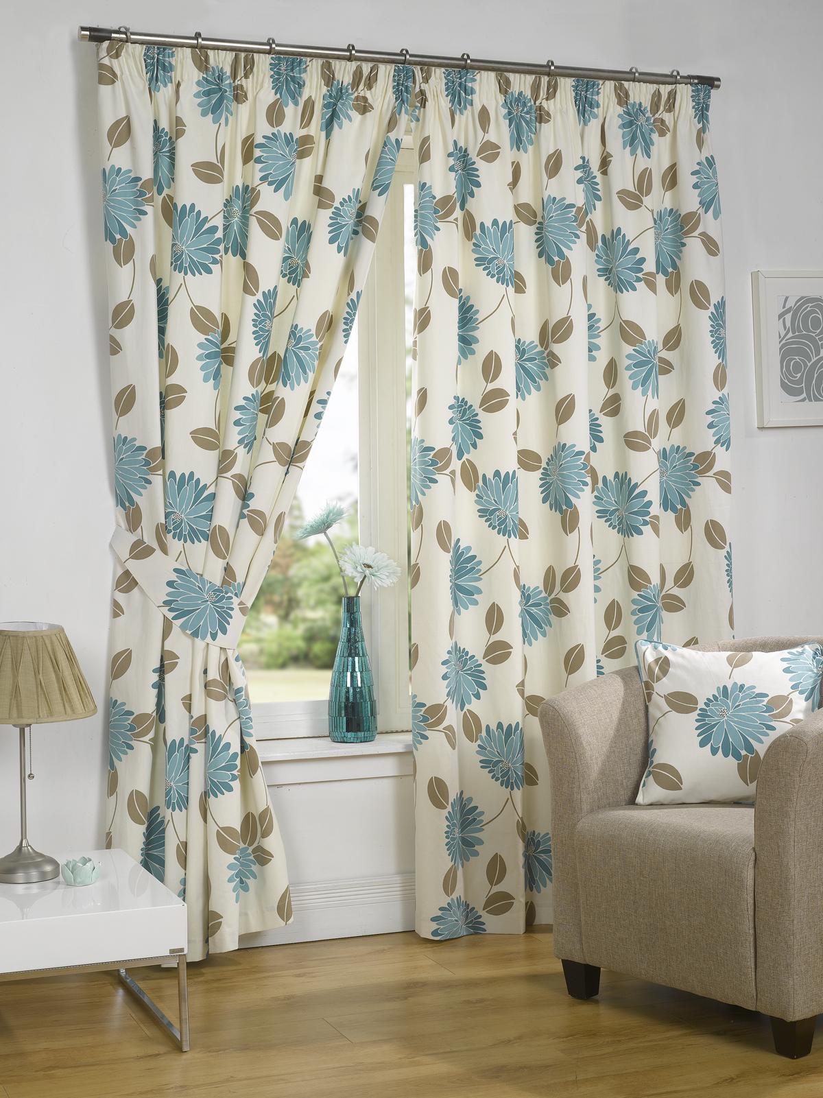 rideaux fleuris enti rement doubl s prune et bleu