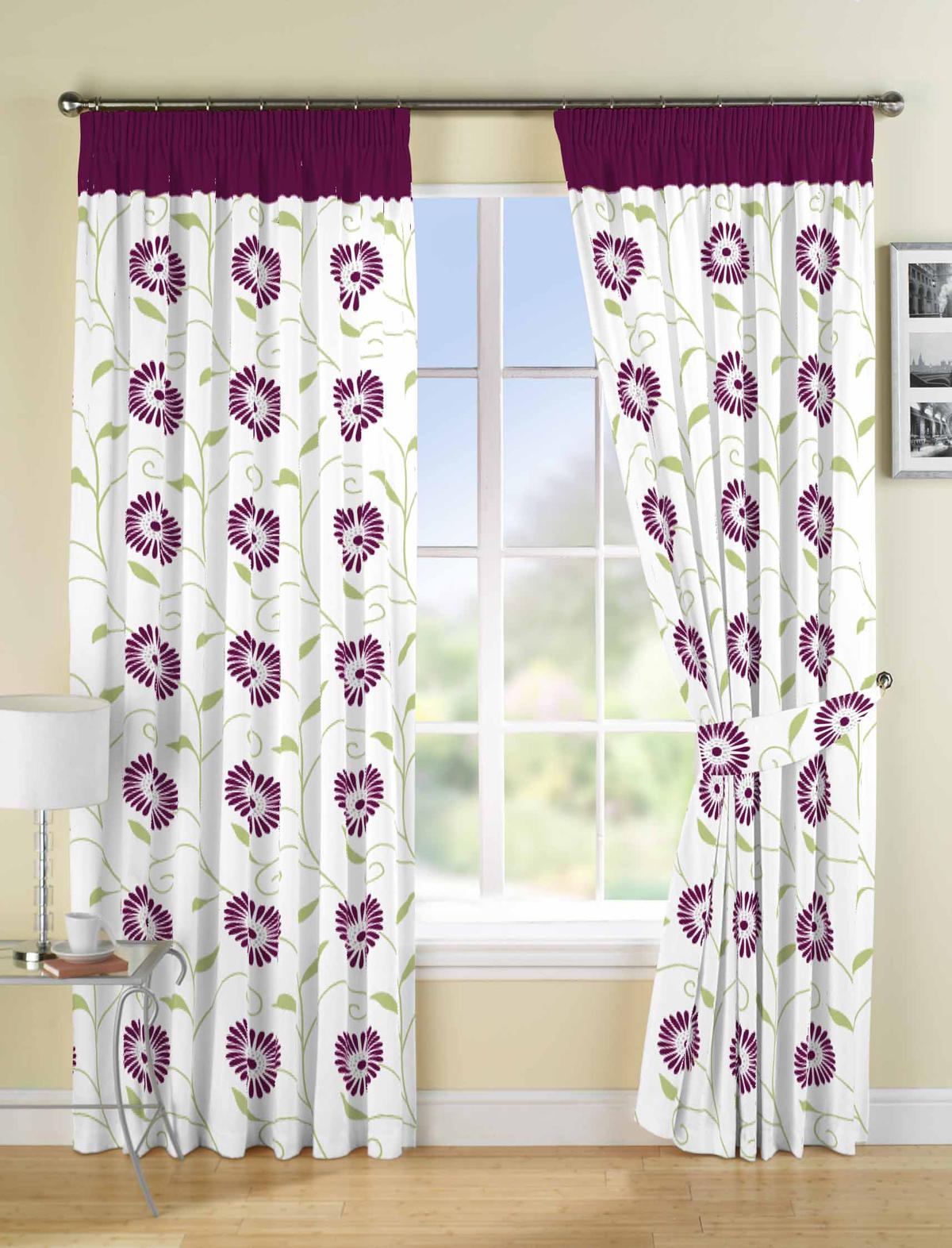 rideaux fleuris enti rement doubl s toutes tailles et couleurs haut de gamme ebay. Black Bedroom Furniture Sets. Home Design Ideas