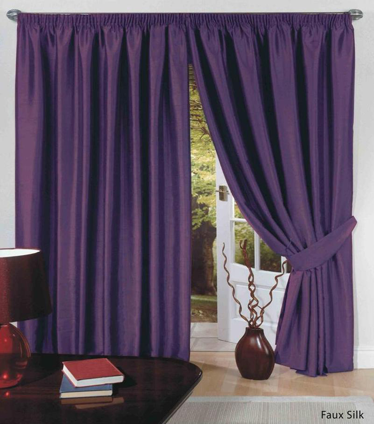 rideaux doubl s en simili de soie ruban pliss et embrasses haut de gamme c1 ebay. Black Bedroom Furniture Sets. Home Design Ideas