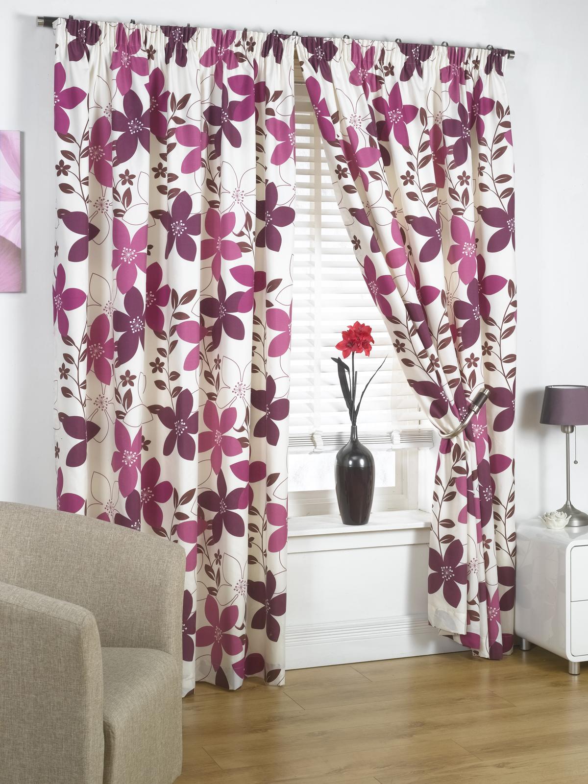 rideaux pr ts poser fleuris doubl s vari t de couleurs. Black Bedroom Furniture Sets. Home Design Ideas