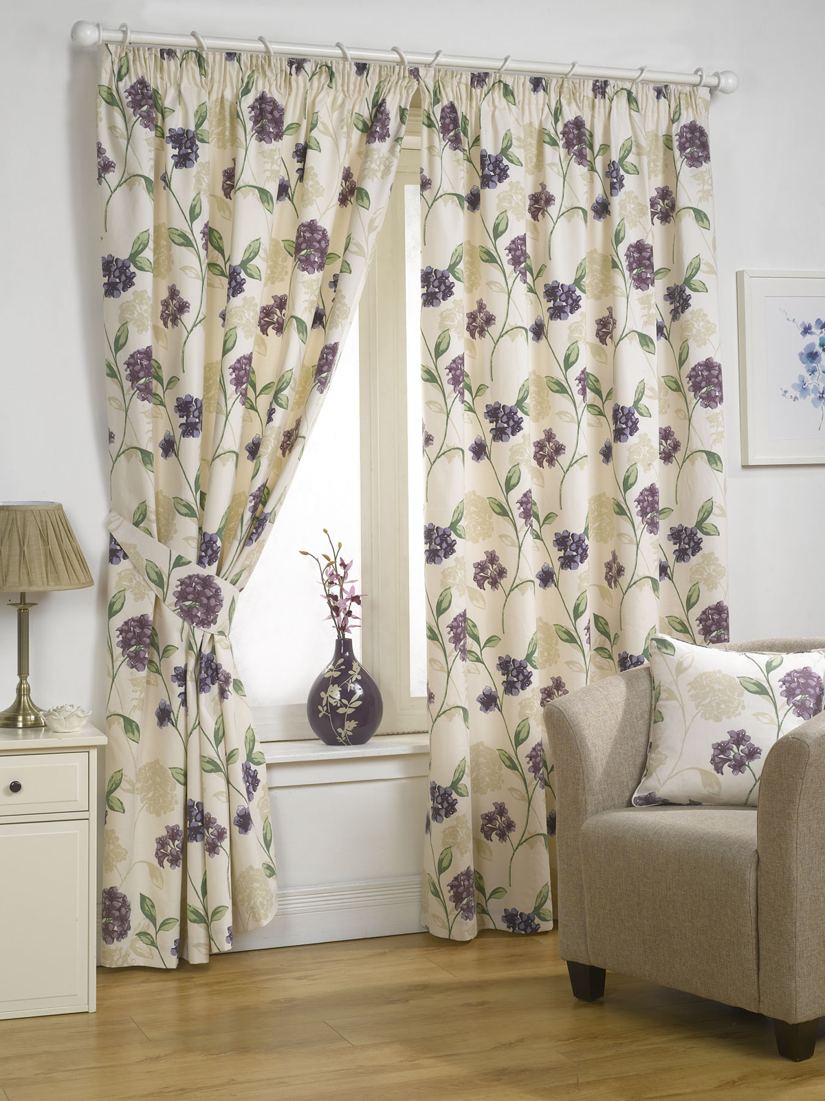 rideaux enti rment doubl s fleurs design accessoires. Black Bedroom Furniture Sets. Home Design Ideas