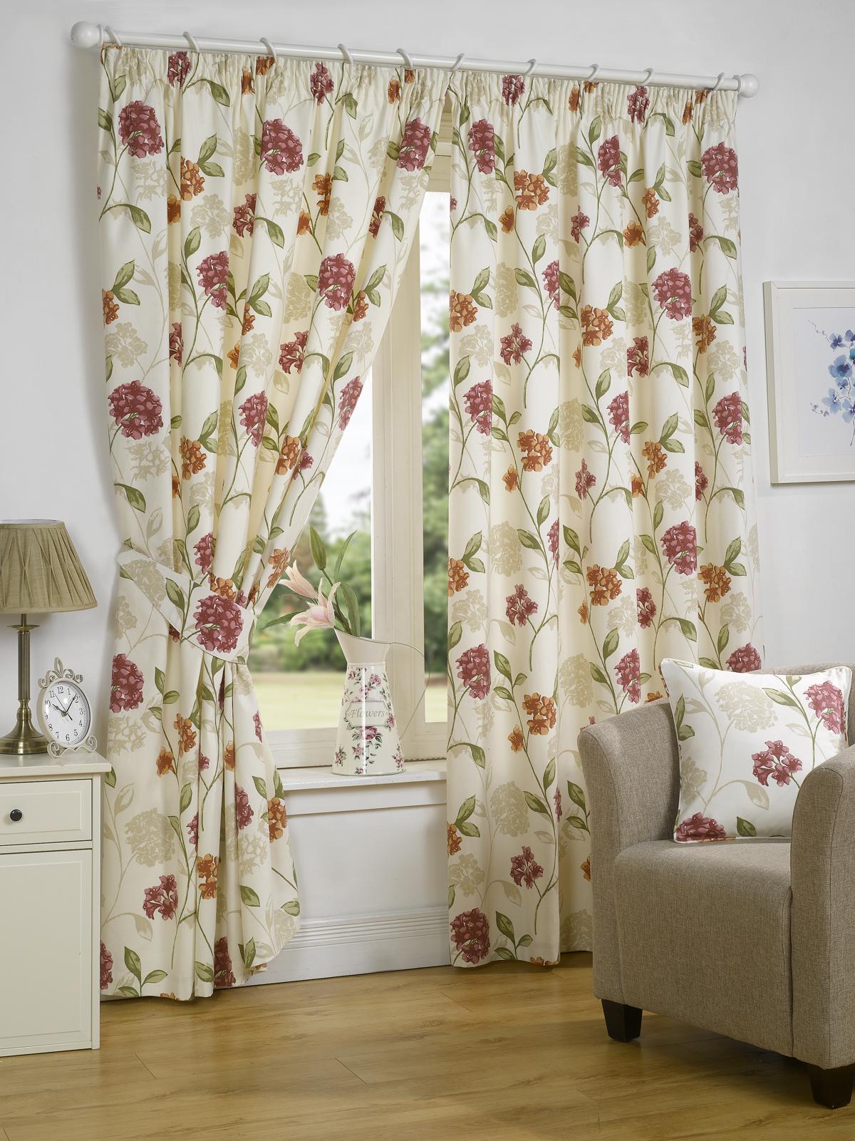 rideaux enti rment doubl s fleurs design accessoires disponibles ebay. Black Bedroom Furniture Sets. Home Design Ideas