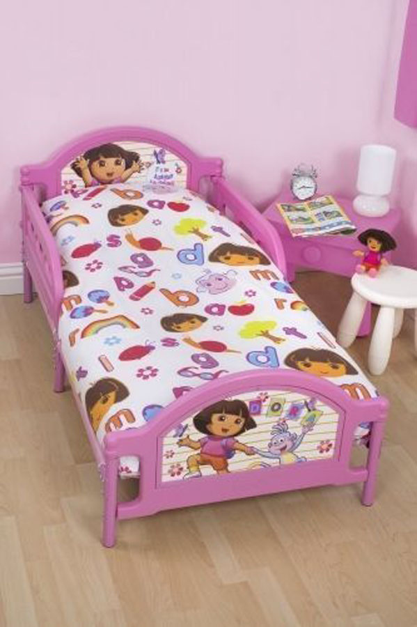 dora the explorer alphabet m dchen babybett kleinkind gitterbett set 4 in 1 neu ebay. Black Bedroom Furniture Sets. Home Design Ideas