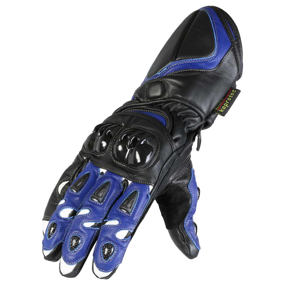 Texpeed Black & Navy 4 Knuckle Leather Gloves