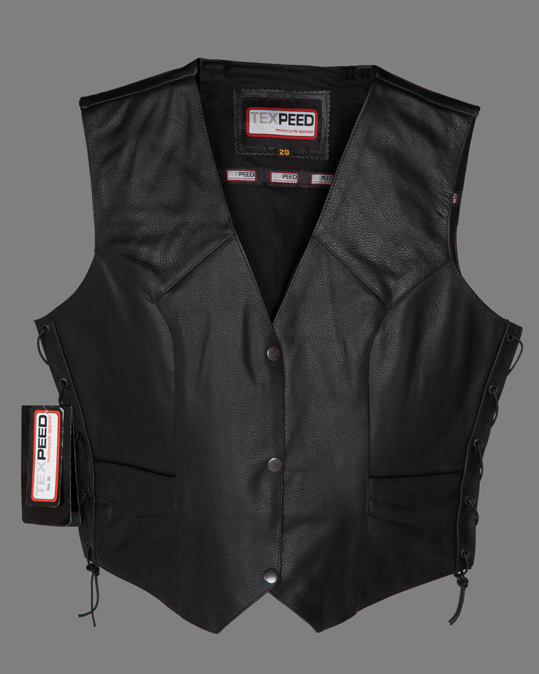 Ladies New Real Leather Motorcycle Biker Waistcoat / Vest Giliet With Sexy Lace