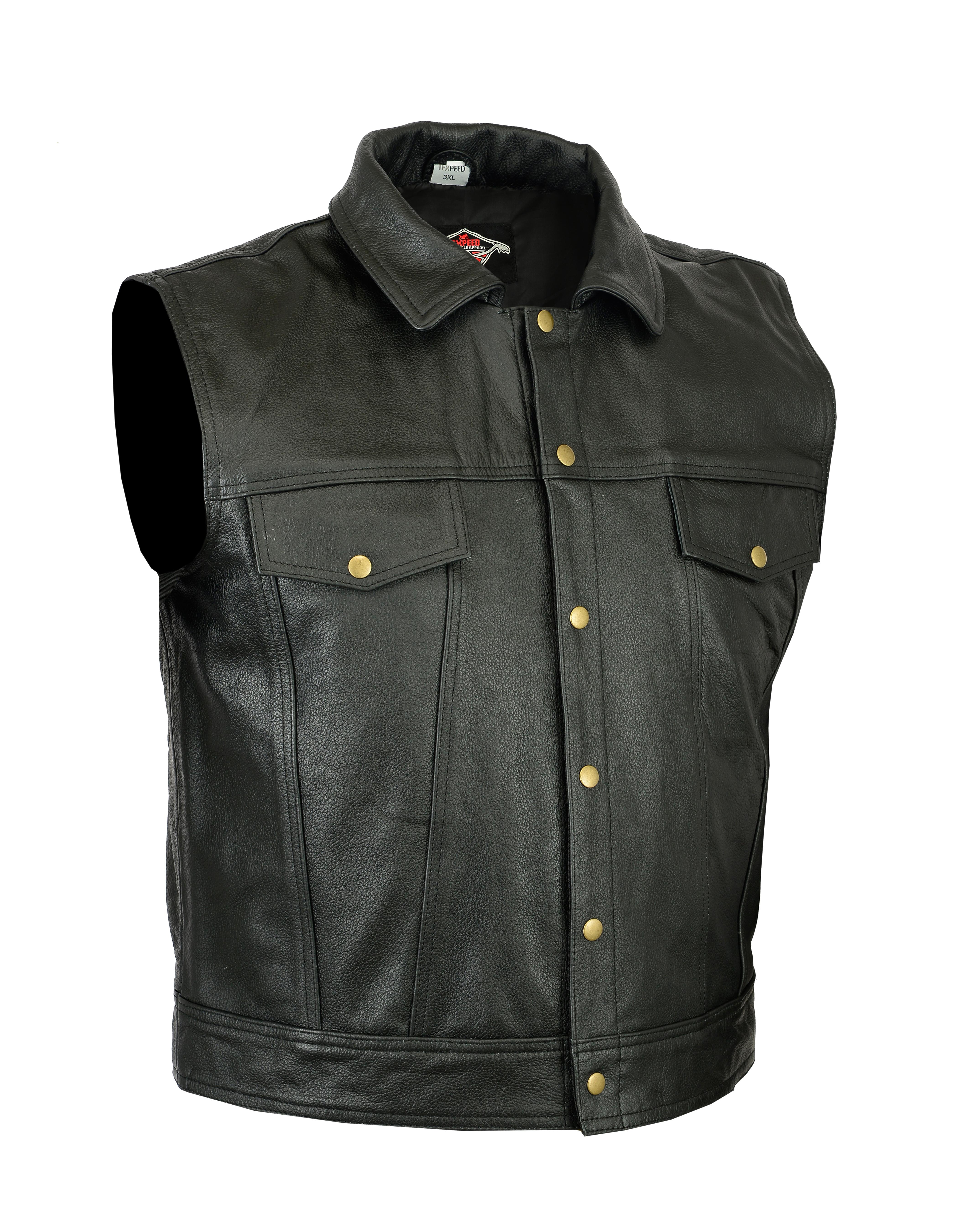 New Mens Wasik Casual Motorbike / Motorcycle Cowhide Leather Waistcoat Vest