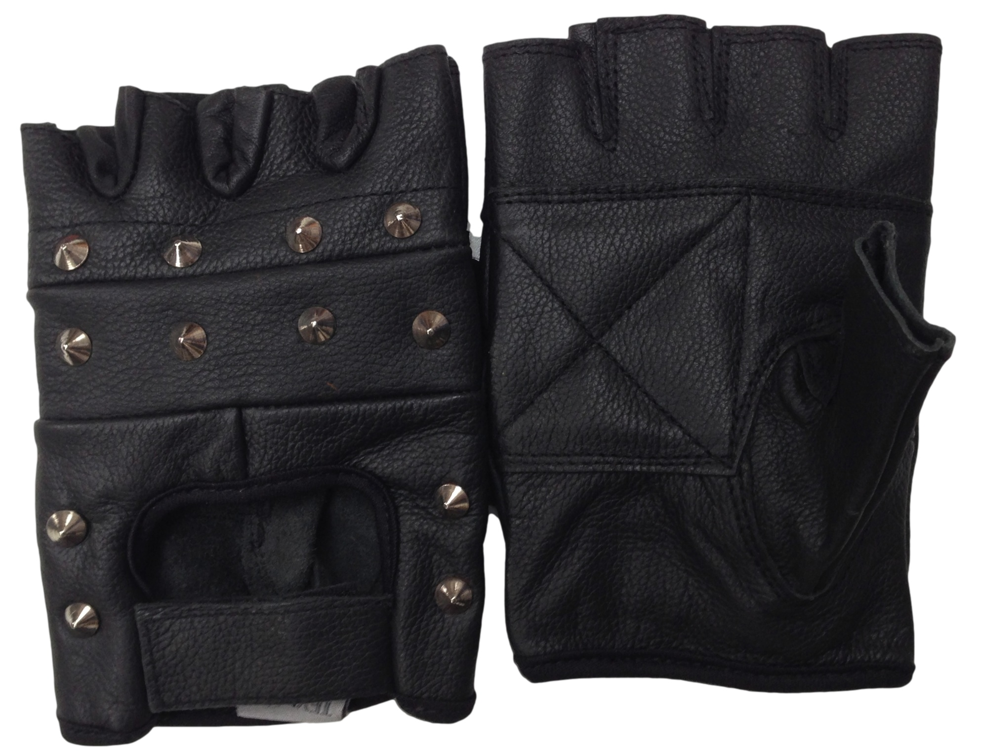 bd02a6e3eb091 ... Black Spiked Gloves: Texpeed Black Fingerless Studded Leather Gloves