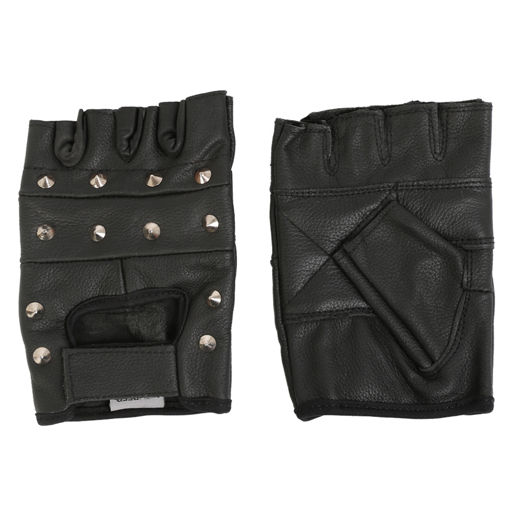 Texpeed Black Fingerless Studded Leather Gloves