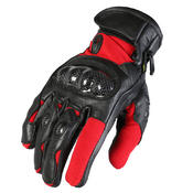 Texpeed Short Black & Red Leather Gloves