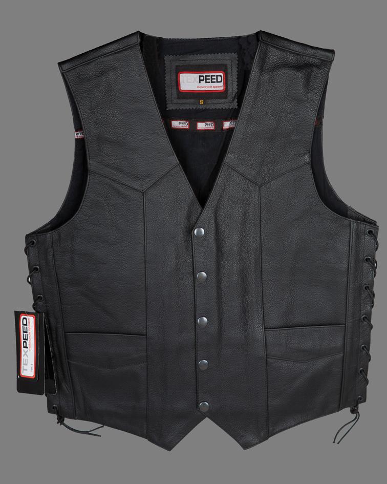 Black Mens Leather Cruiser Biker Waistcoat / Gillet For Motorcycle Motorbike