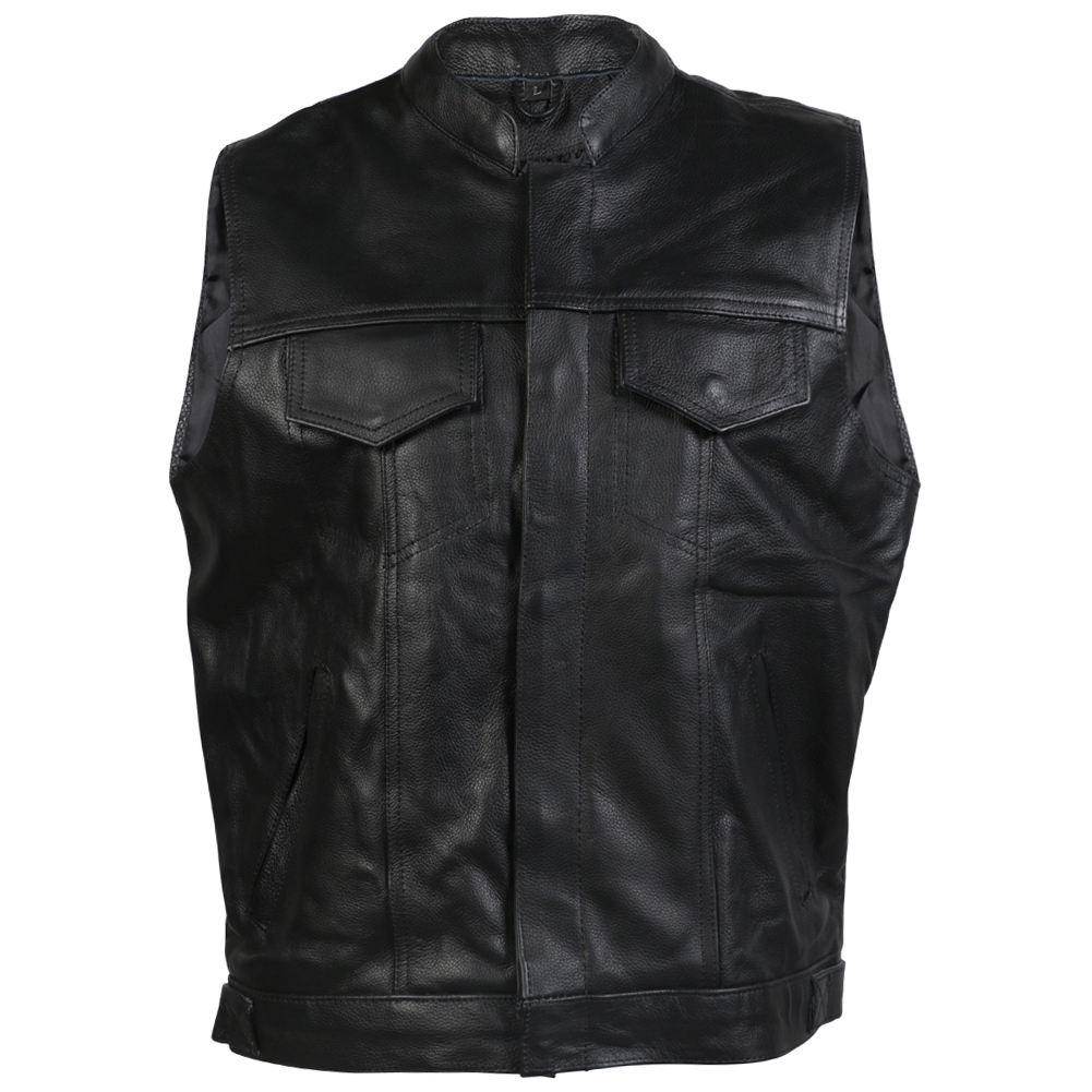 Turin Black Leather SOA Style Waistcoat