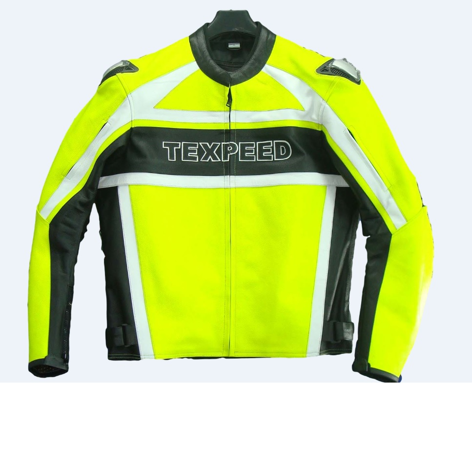 Texpeed Mens Leather Hi-Vis Racing Jacket