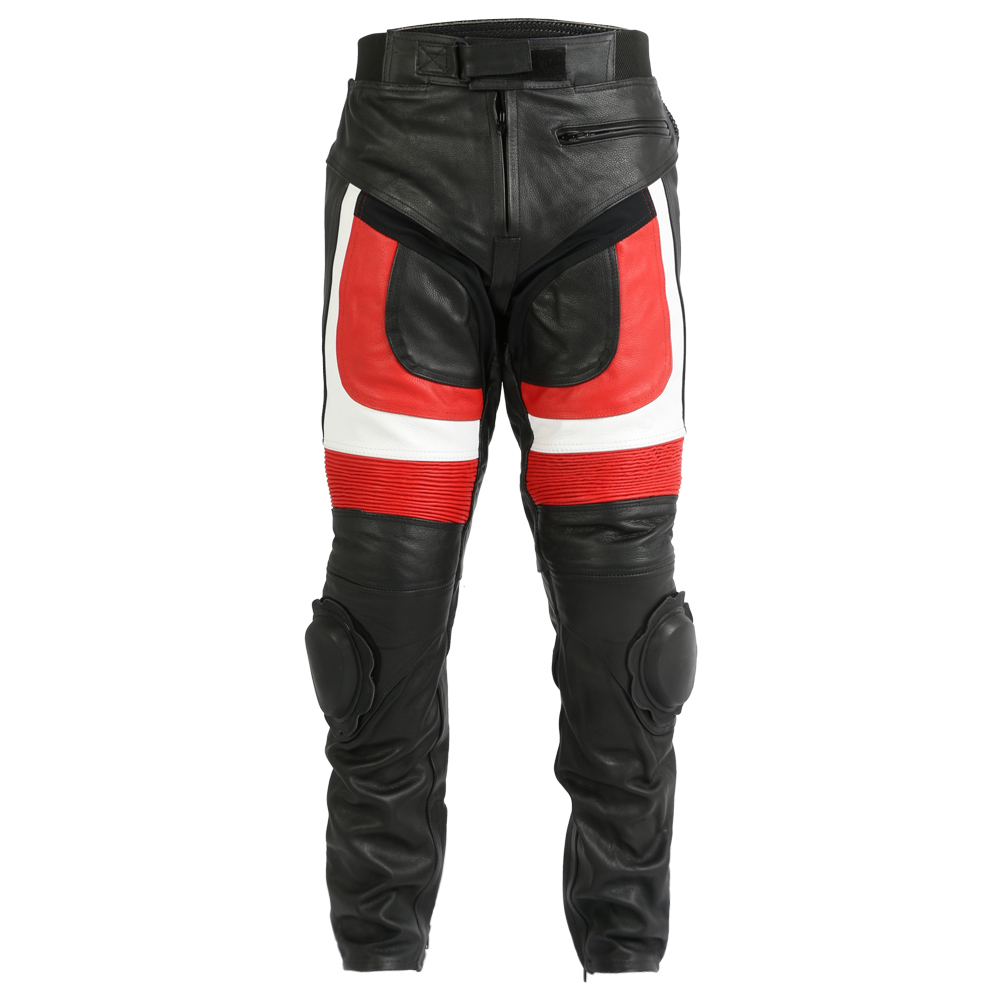 Turin Black White Red Leather Trousers With Sliders