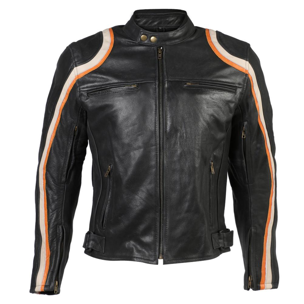 Turin Black Leather Stripe Motorbike Jacket
