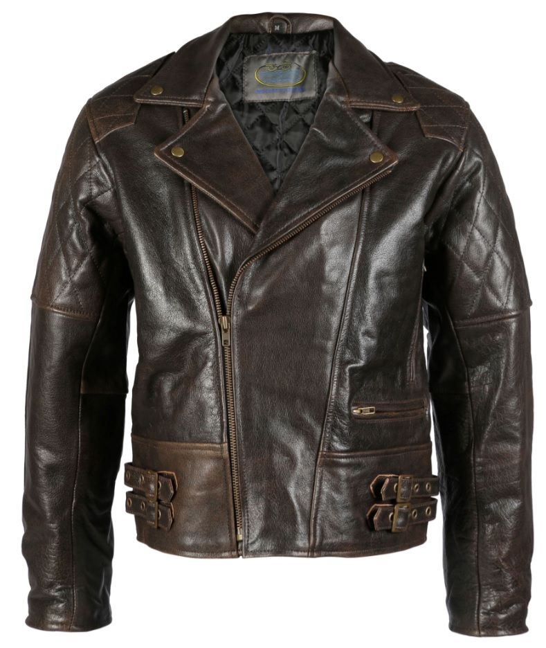 Turin Distressed Brown Leather Brando Jacket
