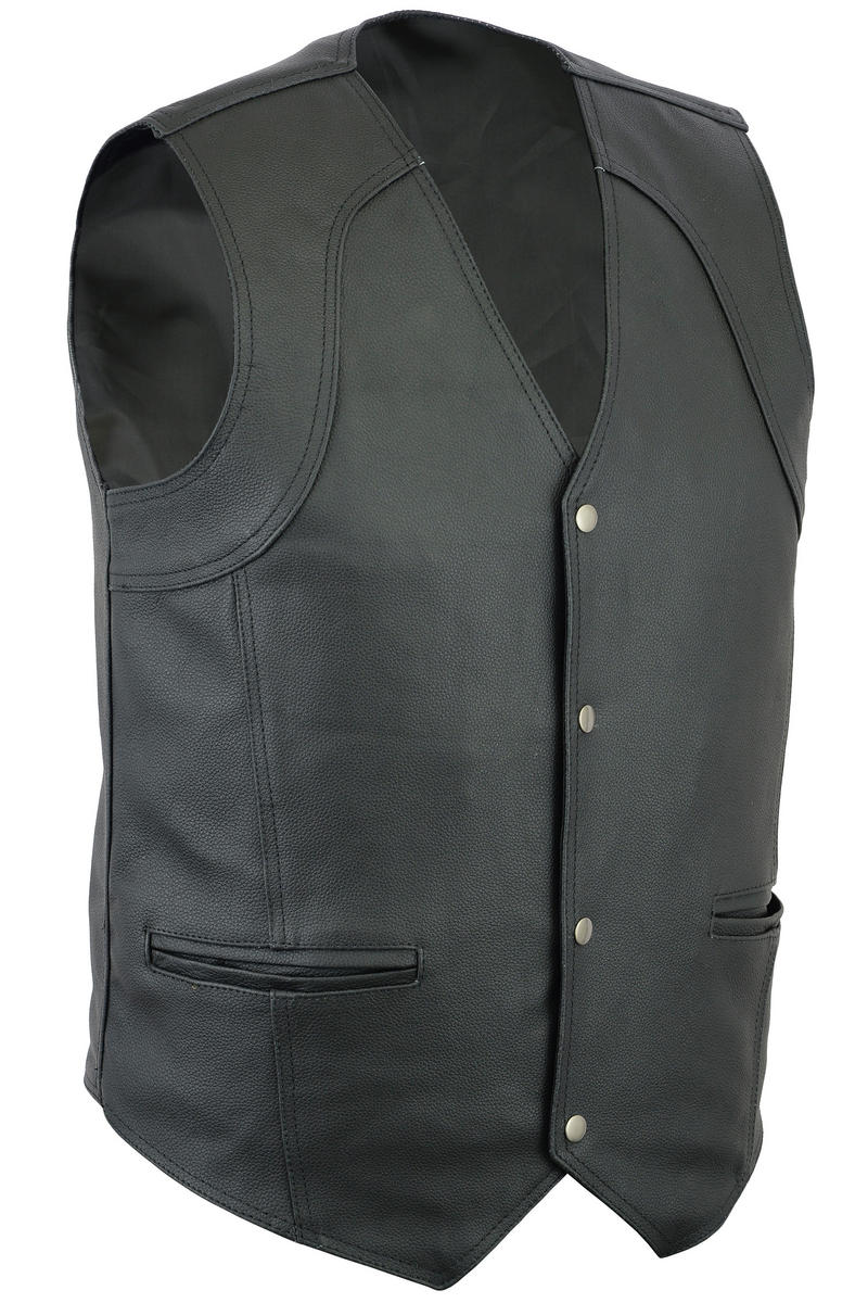 Mens Motorcycle / Biker Classic Fit Casual 4 Pocket Leather Waistcoat S-12XL