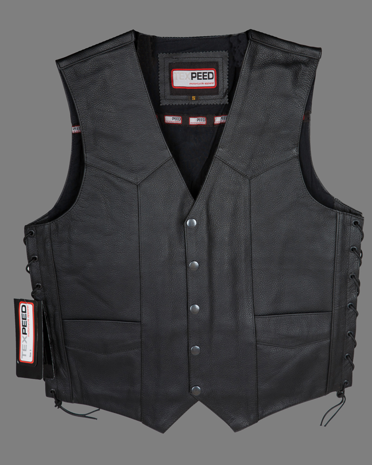 Mens Black Quality 4 Pocket Leather Motorcycle Biker Classic Waistcoat 600-002