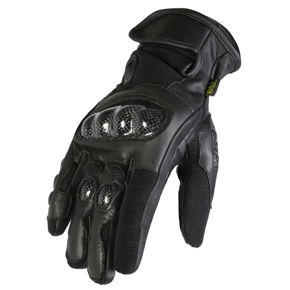Texpeed Short Black Leather Gloves