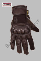 All Black Short Leather Motorcycle Gloves With Protection Sizes S, M, L, XL