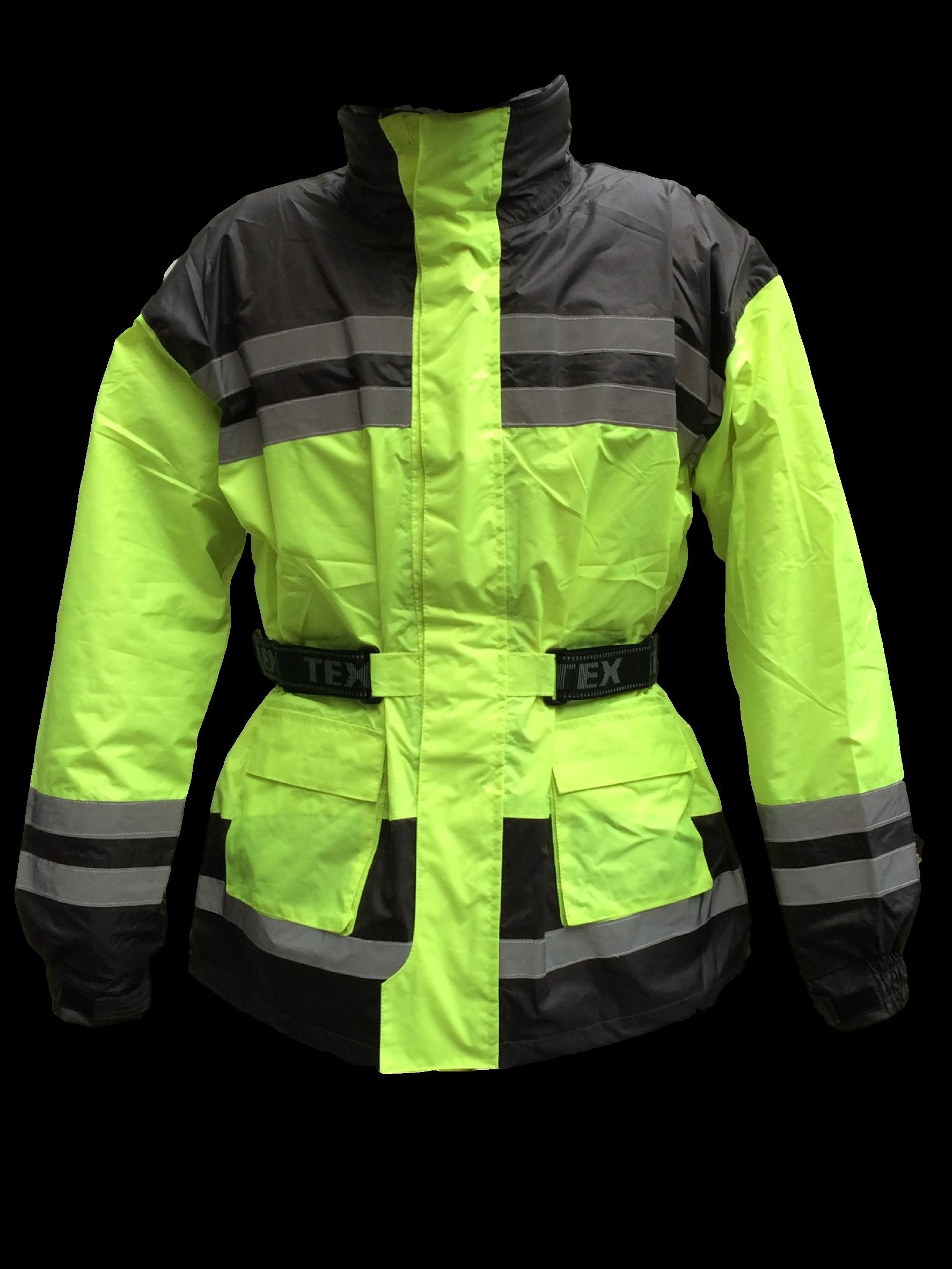 Hi vis motorcycle waterproof elasticated over jacket for Motor cycle rain gear