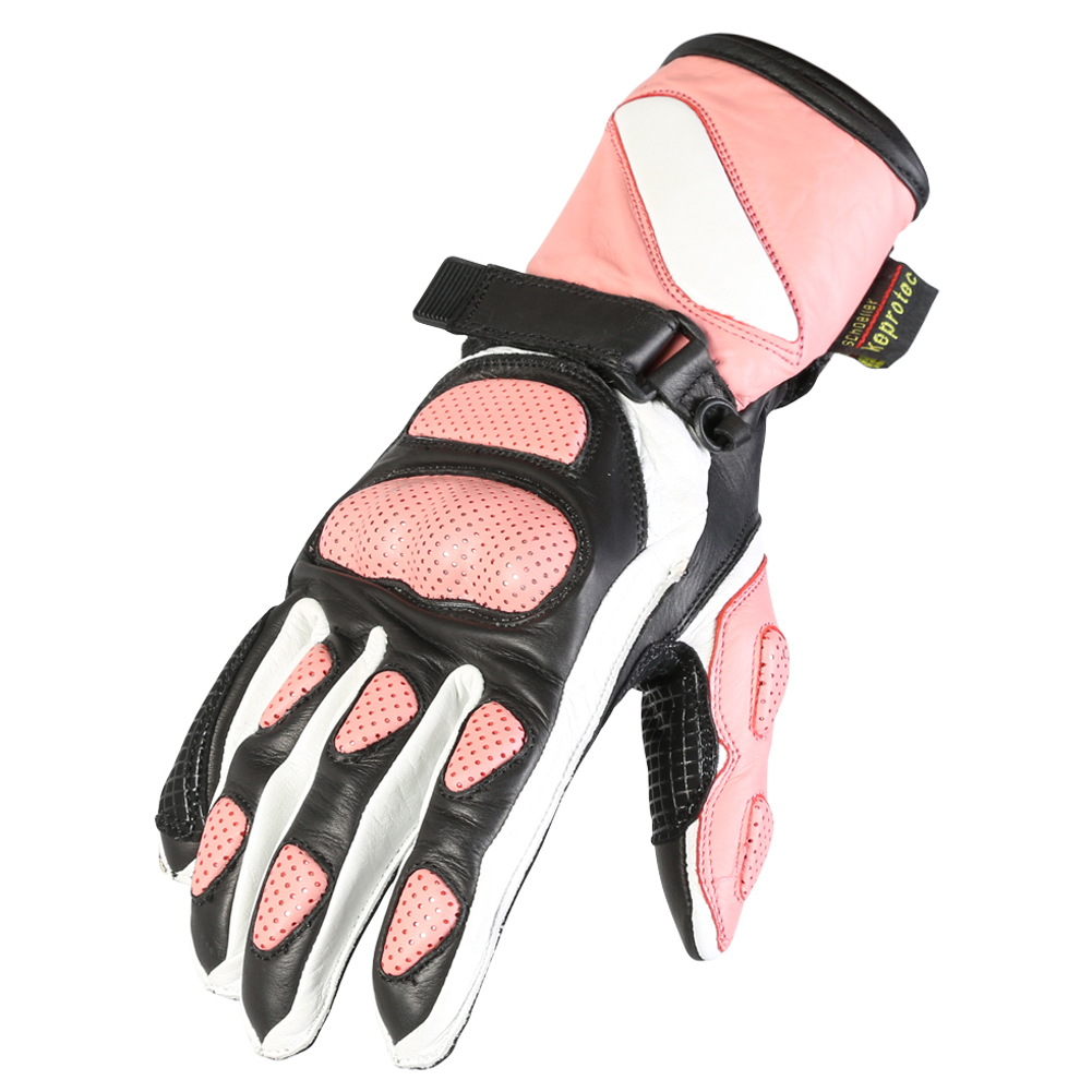 Womens pink leather motorcycle gloves - Texpeed Womens Pink Leather Gloves