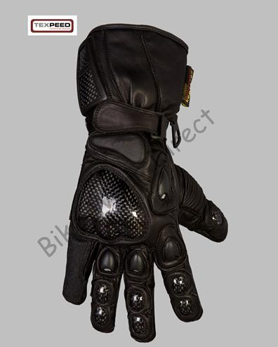 All Black Carbon & Leather Motorbike Gloves - Large