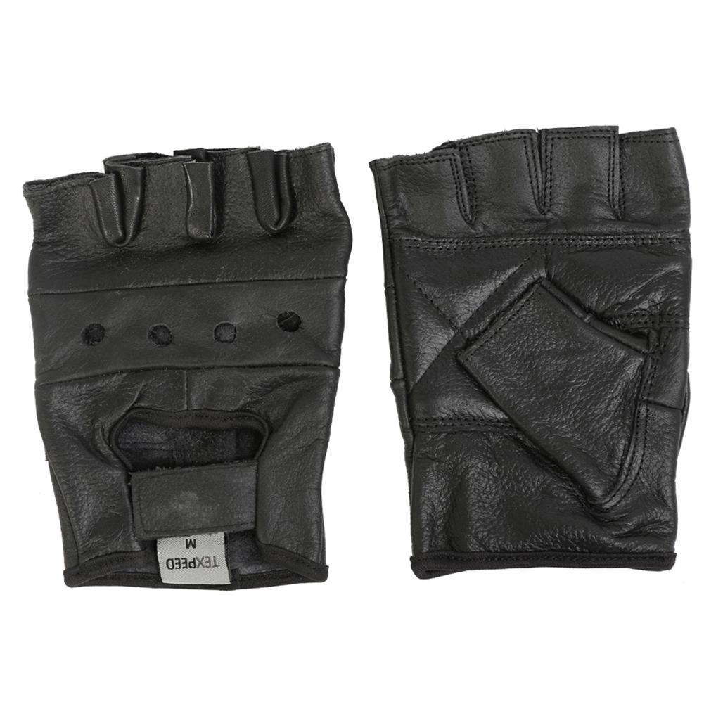 texpeed black fingerless leather gloves mens bike wear