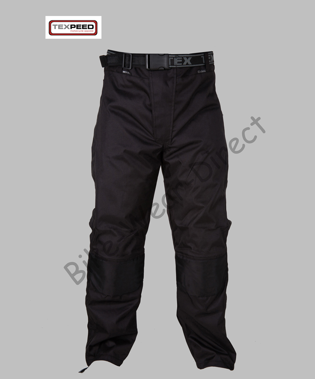 Mens Black Armoured Waterproof Motorcycle Motorbike Over Trousers Full Zip