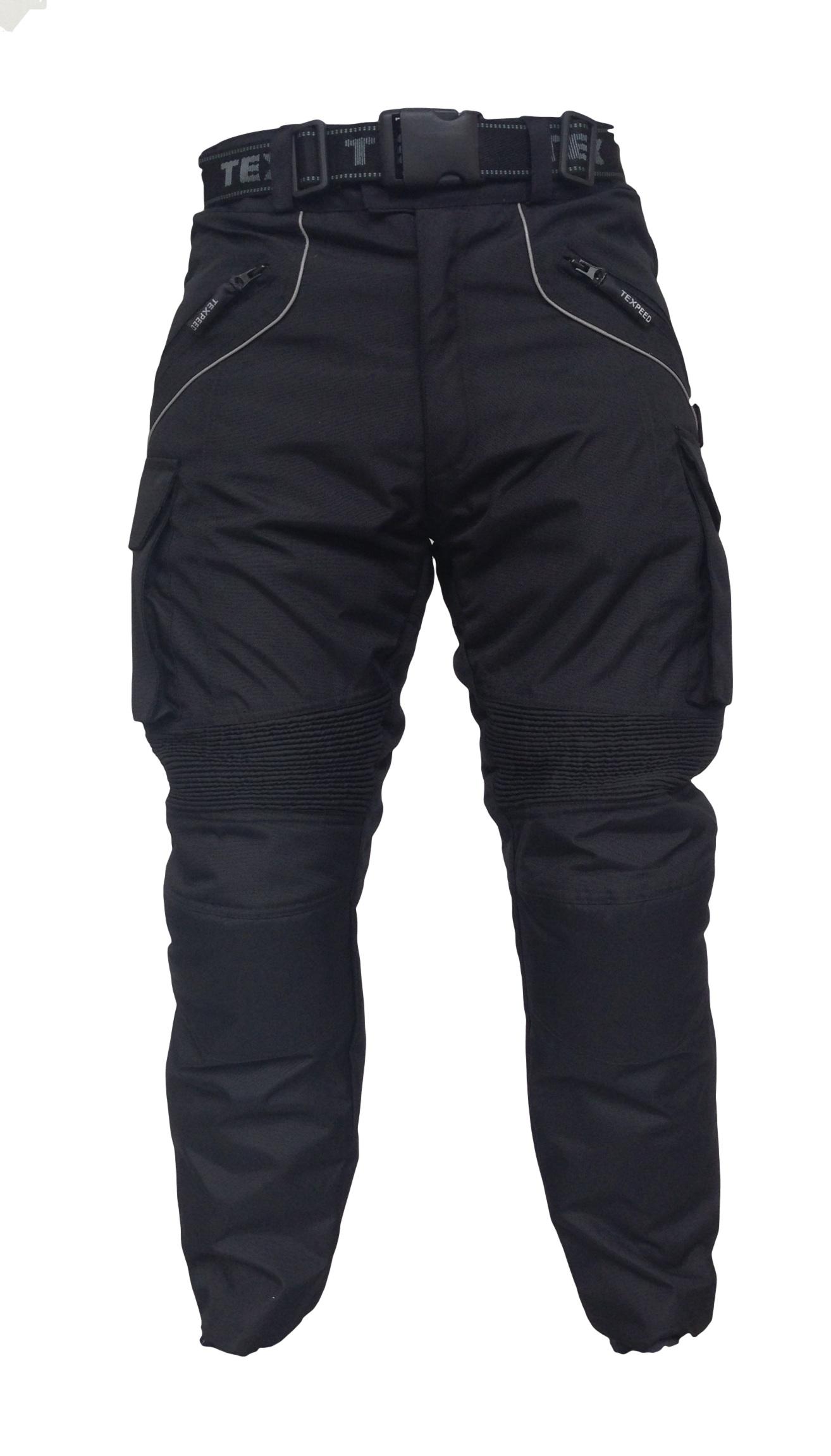 CE Armoured Waterproof Police Style Black Motorcycle Bike Trousers +Inner Lining