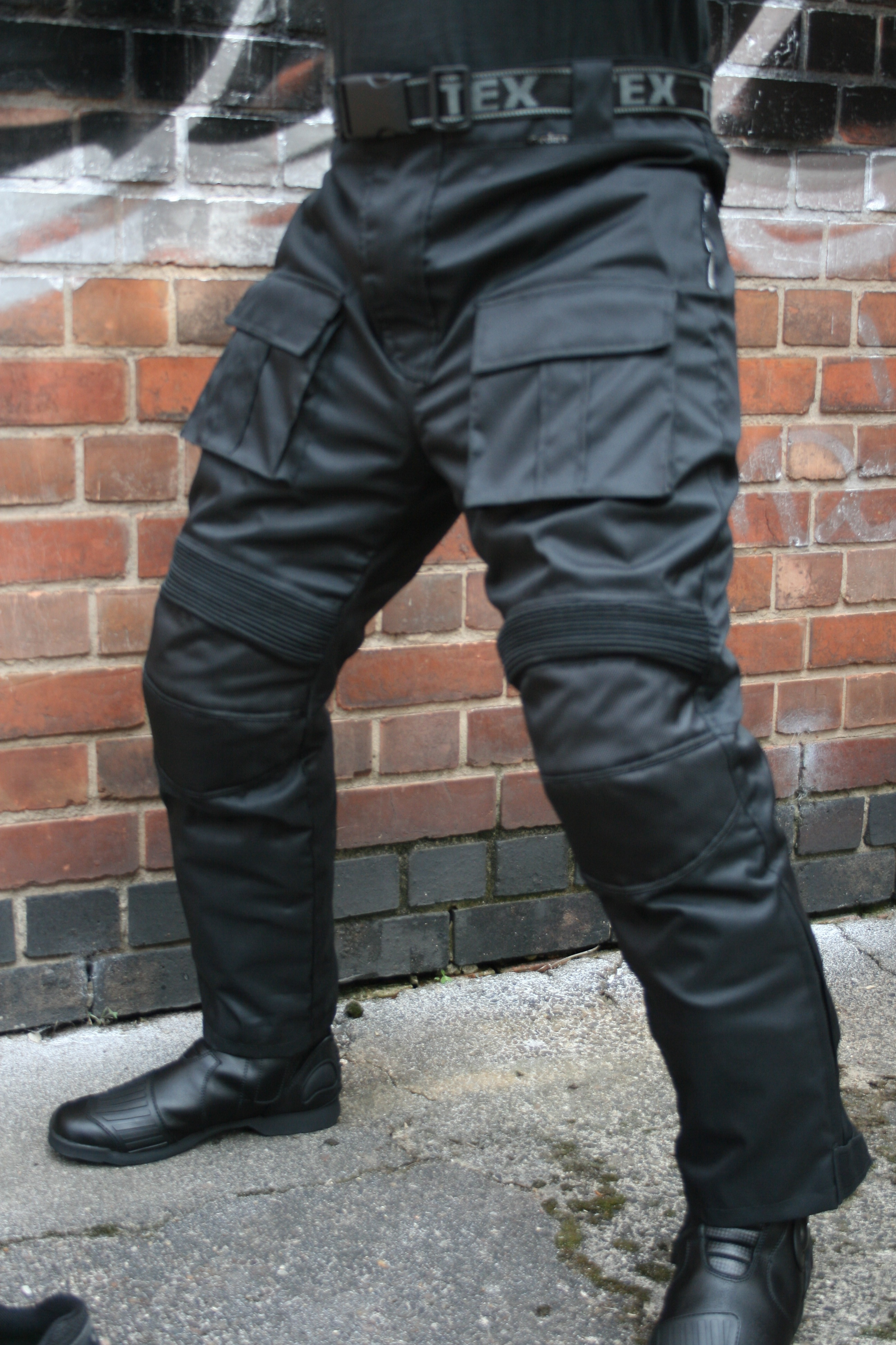 CE Armoured Waterproof Police Style Black Motorcycle Bike Trousers +Inner Lining