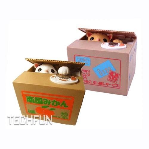 Cute stealing money cat coin piggy bank saving box with meow ebay - Coin stealing cat piggy bank ...