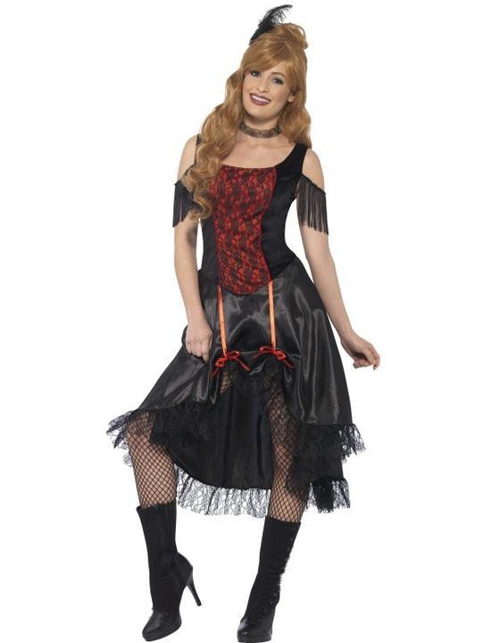 Women's Saloon Girl Fancy Dress Costume Thumbnail 1
