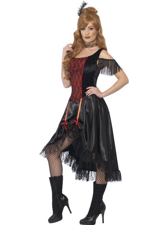 Women's Saloon Girl Fancy Dress Costume Thumbnail 3
