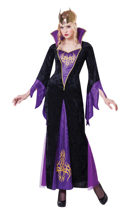 Womens Halloween Sorceress Costume Ladies Horror Fancy Dress Outfit Thumbnail 1