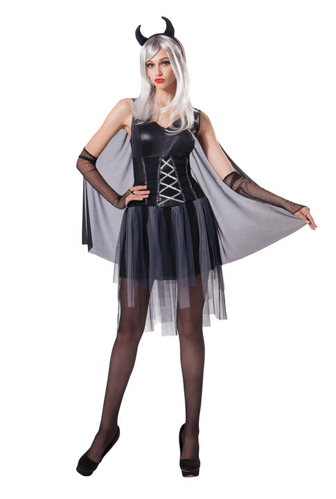 Womens Halloween Black Devil Lady Costume Ladies Horror Fancy Dress Outfit Thumbnail 1