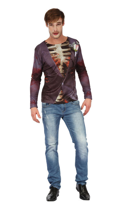 Mens Halloween Zombie Bridegroom 3D Printed Shirt Gents Fancy Dress Thumbnail 1