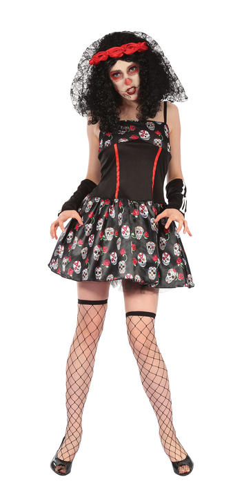 Womens Halloween Day of the Dead Skull Costume Ladies Horror Fancy Dress Outfit Thumbnail 1
