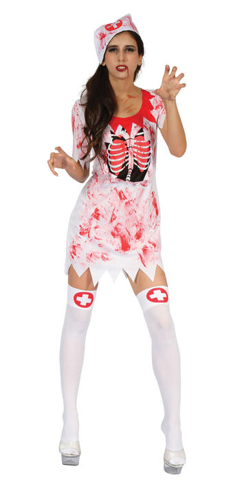 Womens Halloween Bloody Nurse Costume Ladies Horror Fancy Dress Outfit Thumbnail 1