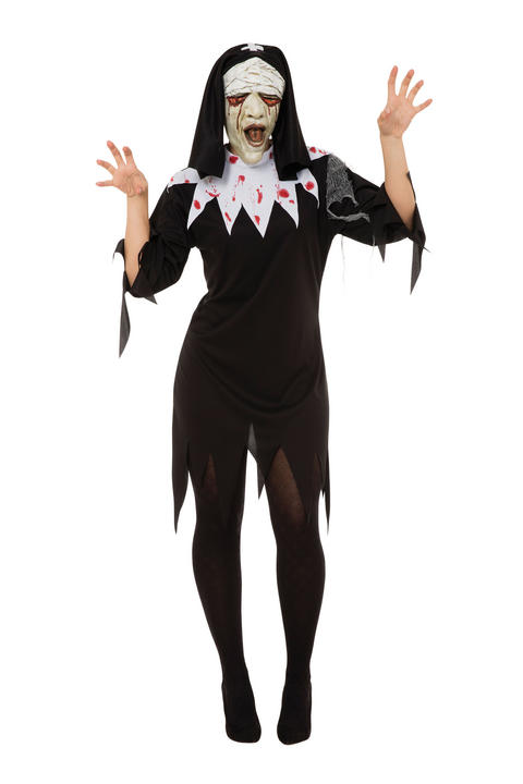 Womens Halloween Zombie Nun Costume Ladies Horror Fancy Dress Outfit Thumbnail 1