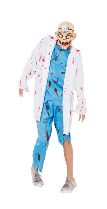 Mens Halloween Mad Surgeon Doctor Costume Gents Fancy Dress Outfit Thumbnail 1