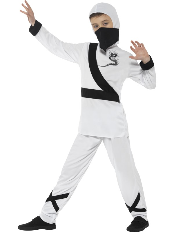 Boy's White Ninja Assassin Fancy Dress Costume