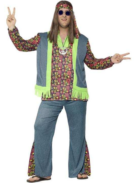 Men's Curves Hippie Fancy Dress Costume Thumbnail 1