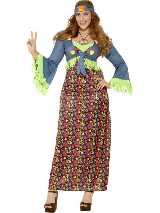 Women's Curves Hippie Lady Fancy Dress Costume Thumbnail 1