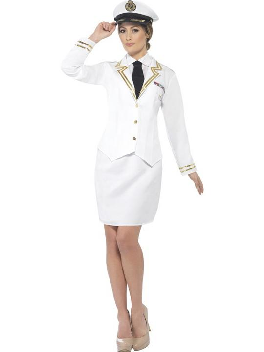 Women's Naval Officer Fancy Dress Costume Thumbnail 1