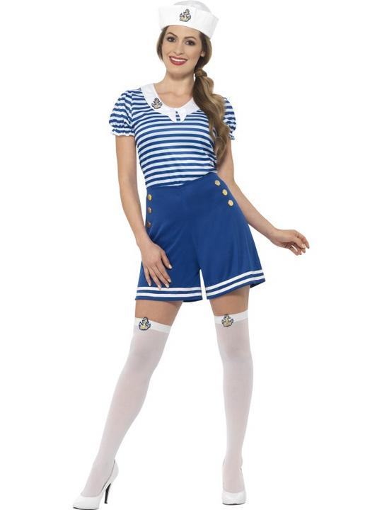 Women's Sailor Girl Fancy Dress Costume Thumbnail 1
